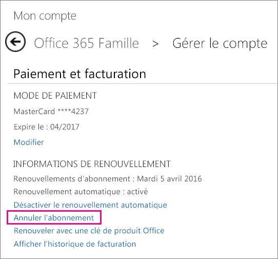 Capture d'écran de la page Gérer le compte avec le lien «Annuler l'abonnement» sélectionné.