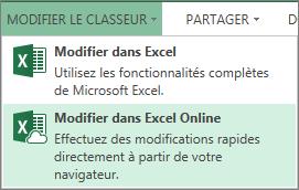Modifier dans Excel Online dans le menu Modifier le classeur