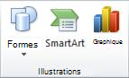 Groupe Illustrations sous l'onglet Insertion dans PowerPoint2010.