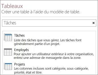 La zone de recherche de modèles de table sur l'écran d'accueil d'Access