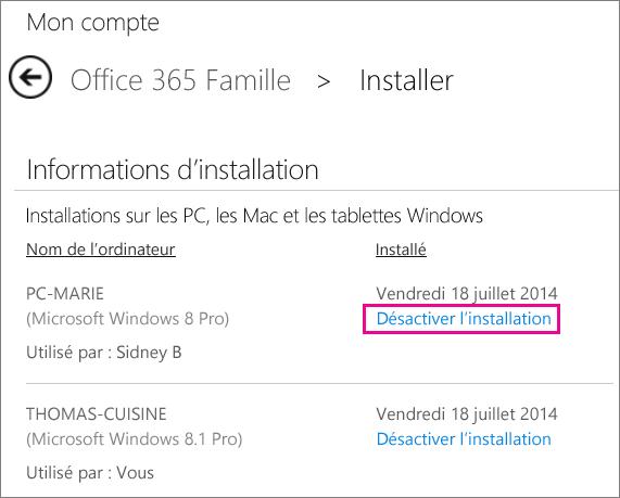 Capture d'écran de la page d'installation avec le lien «Désactiver l'installation» sélectionné.
