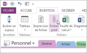 Insérez un fichier en pièce jointe pour avoir une copie des fichiers dans OneNote.