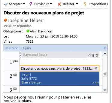 Aperçu rapide de calendrier dans un message de demande de réunion