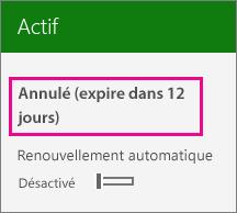 Capture d'écran montrant un abonnement avec l'option de renouvellement automatique désactivée