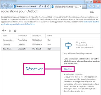 Désactiver une application pour Outlook