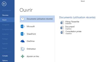 Expérience de l'option Enregistrer sous dans Word2013