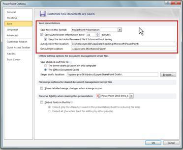 Définir les paramètres de récupération automatique ou d'enregistrement automatique