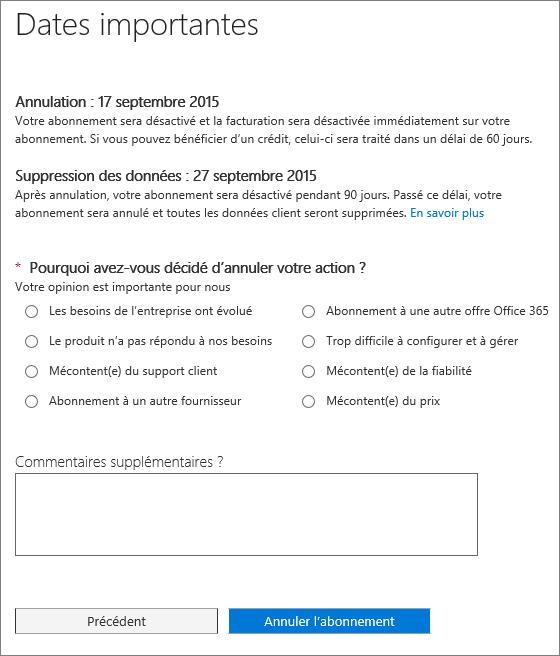 Capture d'écran de la page Annuler l'abonnement.