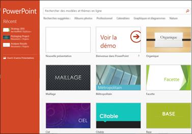 Écran d'accueil de PowerPoint2013