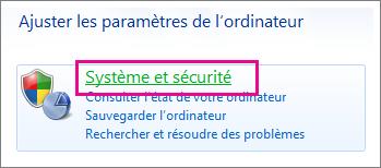 Panneau de configuration de Windows7