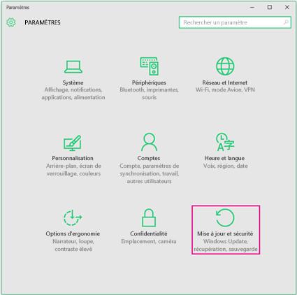 Configuration de Windows Update dans Windows10