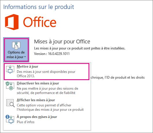 Vérification manuelle des mises à jour Office dans Word2016