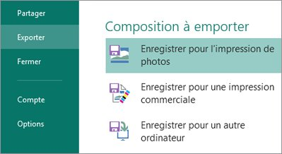 Enregistrer pour l'impression de photos