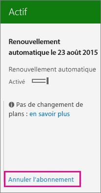 Capture d'écran de la page des abonnements avec le lien Annuler l'abonnement mis en évidence.