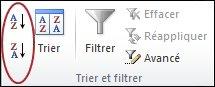 Boutons de tri du groupe Trier et filtrer sous l'onglet Données dans Excel