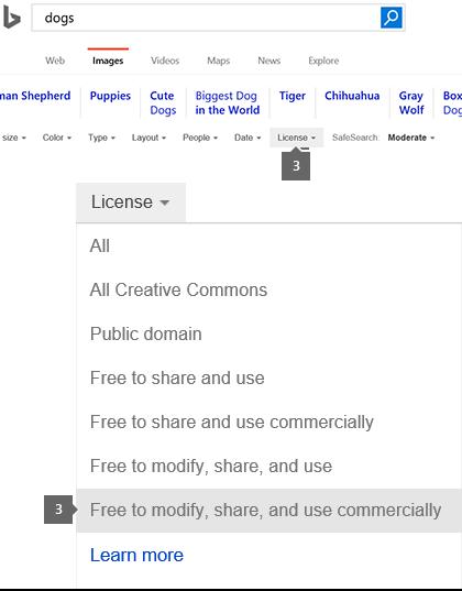 लायसेंस ड्रॉप-डाउन संशोधित करने के लिए उपलब्ध, साझा करने और व्यावसायिक रूप से उपयोग करने के लिए सेट है.