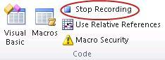 डेवलपर टैब पर कोड समूह में रिकॉर्डिंग रोकें आदेश