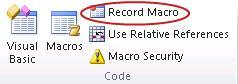 डेवलपर टैब पर कोड समूह में मैक्रो रिकॉर्ड करें आदेश