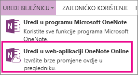 Uređivanje bilježnice u web-aplikaciji OneNote Online