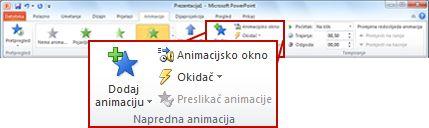 Grupa Dodatna animacija na kartici Animacija na vrpci programa PowerPoint 2010
