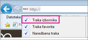 Prikaz trake izbornika u programu Internet Explorer