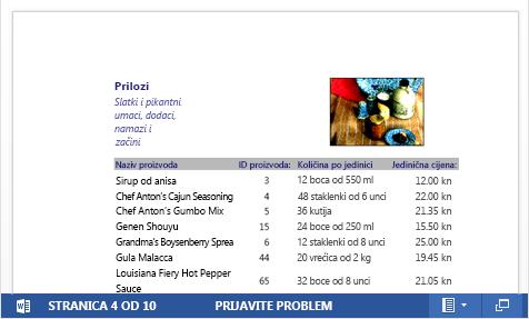 Ugrađena PDF datoteka kataloga proizvoda prikazana u web-aplikaciji Word Web App