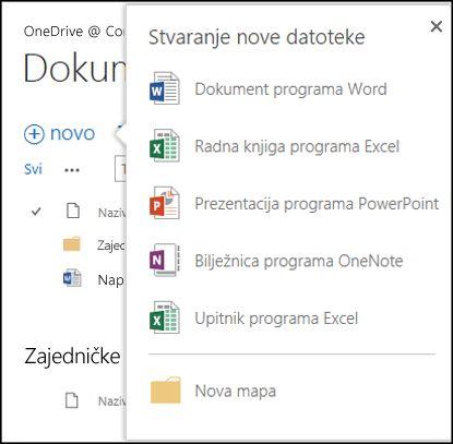 Mogućnosti sustava Office Online koje možete koristiti na gumbu Novo u sustavu OneDrive za tvrtke