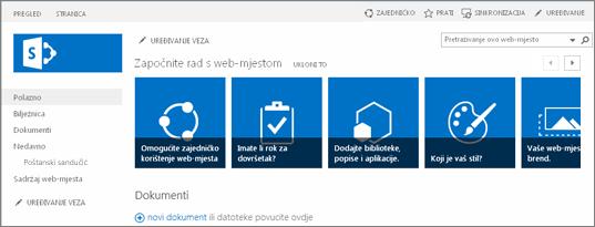Snimka zaslona timskog web-mjesta sustava SharePoint 2013