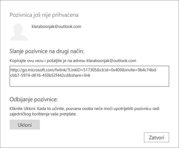 Snimka zaslona dijaloškog okvira za pozivnice koje čekaju s vezom za slanje putem e-pošte i gumbom za uklanjanje pozivnice.