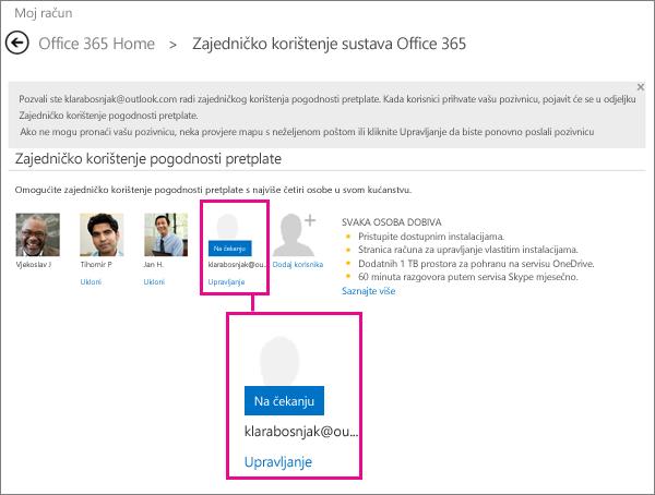 Snimka zaslona stranice za zajedničko korištenje sustava Office 365 s odabranim korisnikom zajedničke pretplate na čekanju.
