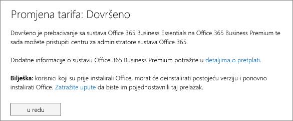 Popis proizvoda i usluga na stranici za prijavu za Office 365.