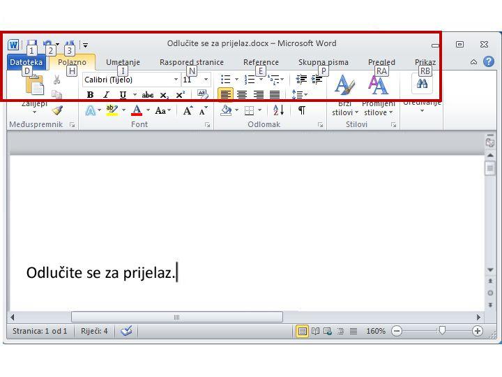 Kartica Polazno u programu Word 2010 s prikazanim savjetima za tipke