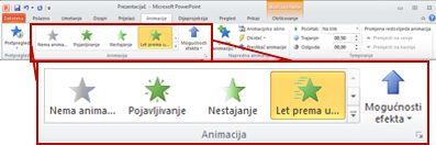 Kartica Animacije na vrpci u programu PowerPoint 2010