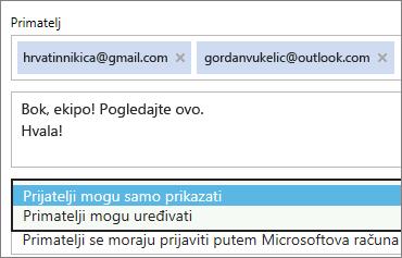 Odabir mogućnosti samo prikaza i obavezne prijave u pozivnoj poruci e-pošte