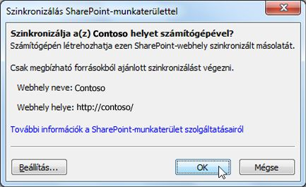 A Szinkronizálás a számítógéppel párbeszédpanel