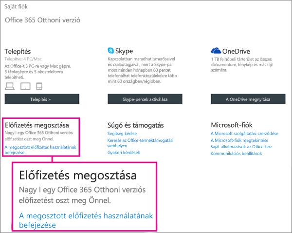 """Képernyőkép: a Saját fiók lap a kinagyított Előfizetés megosztása szakasszal és a kiemelt """"A megosztott előfizetés használatának befejezése"""" hivatkozással."""