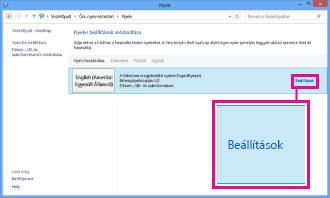 Beviteli módszer megadása a Windows 8 vezérlőpultján