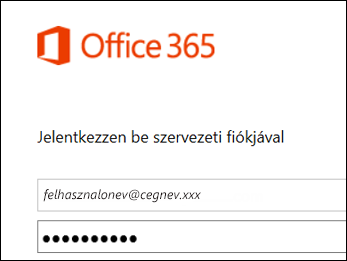Az Office 365 portál bejelentkezési képernyője
