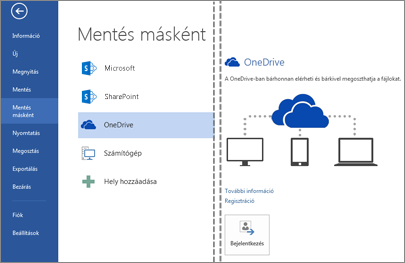 Fájl mentése a OneDrive-on