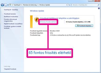 Hivatkozások a Windows Update ablaktáblában