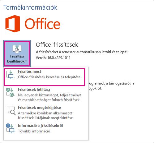 Office-frissítések manuális keresése a Word 2016-ban