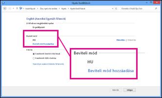 Beviteli mód hozzáadása a Windows 8 rendszerben