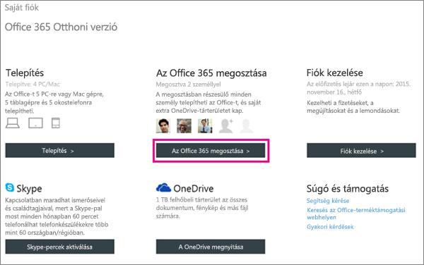 Képernyőkép a Saját fiók lapról, amelyen ki van jelölve Az Office 365 megosztása gomb.