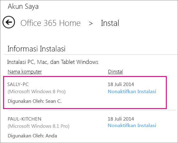 Cuplikan layar halaman Instalasi dengan nama komputer dan nama orang yang menginstal Office dipilih.