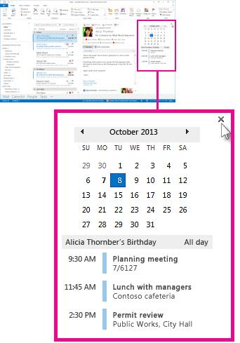 Menghapus perintah penyematan pada cuplikan Kalender yang disematkan