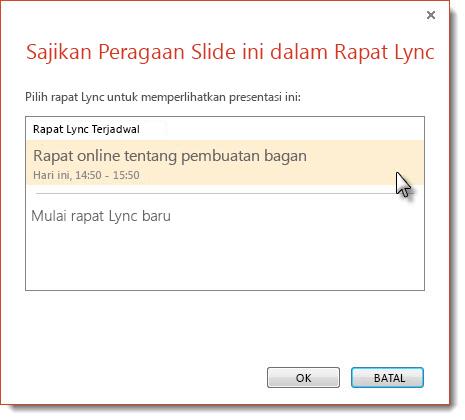 Memulai rapat Lync