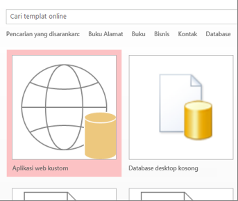 Tombol aplikasi web pada layar startup.