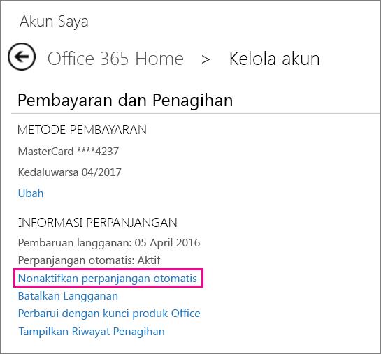 """Cuplikan layar bagian Informasi Pembaruan dengan link """"Nonaktifkan perpanjangan otomatis"""" dipilih."""