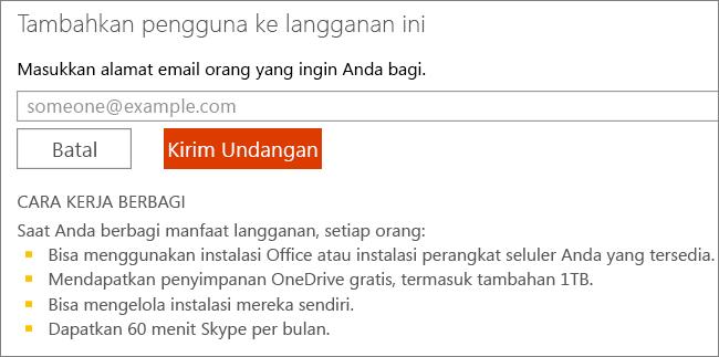 """Cuplikan layar kotak dialog """"Tambahkan pengguna ke langganan ini""""."""