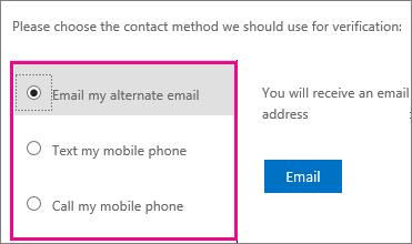 Cuplikan layar yang memperlihatkan opsi metode kontak yang digunakan untuk verifikasi: email, teks, atau hubungi ponsel saya.
